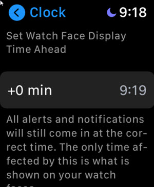 Set Watch Face Display Time Ahead